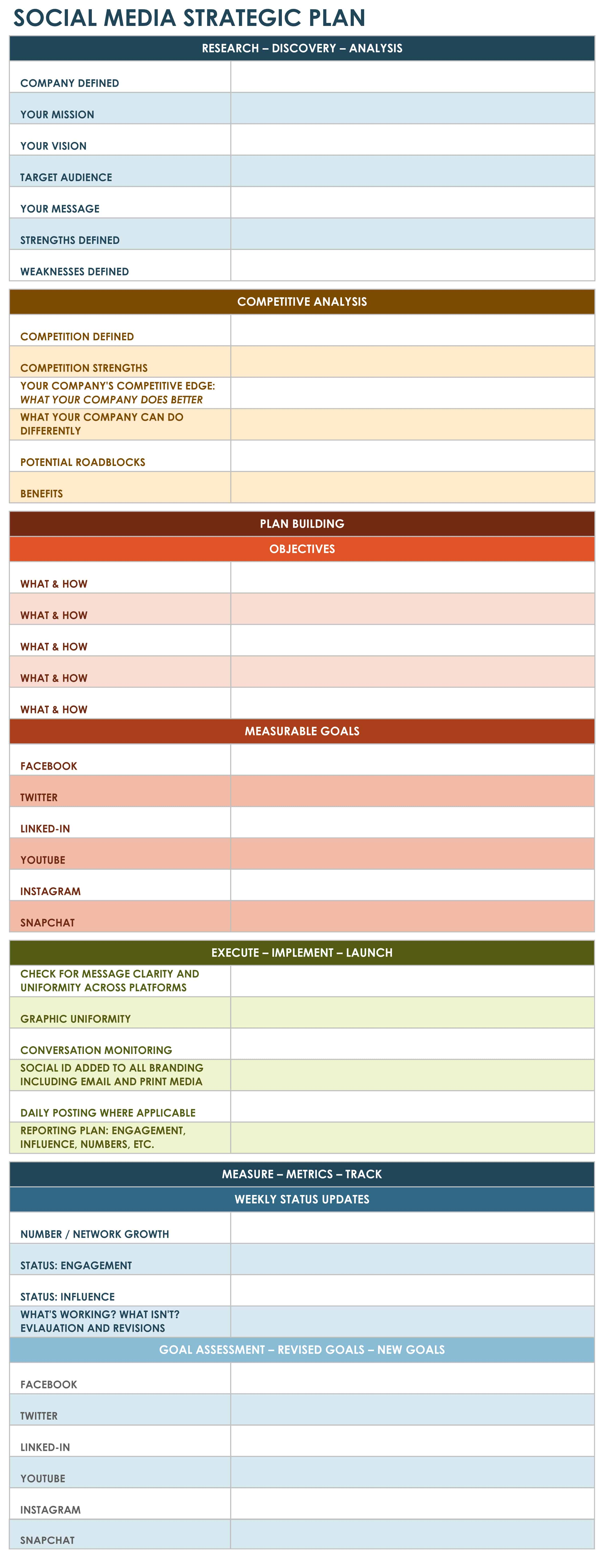social media strategic plan excel template