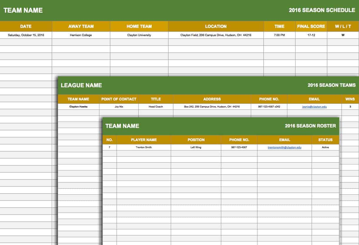Free weekly schedule templates for excel smartsheet for Sports team roster template
