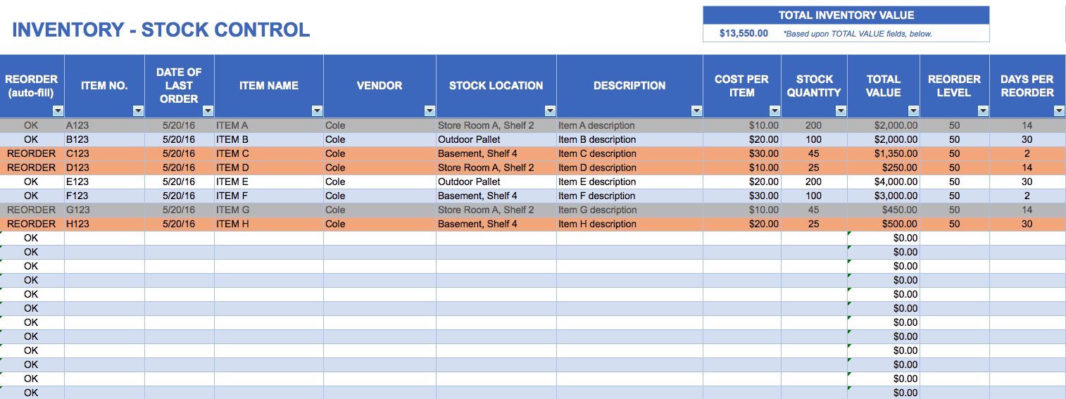 Inventory Stock Control Template  Office Supplies Inventory Template