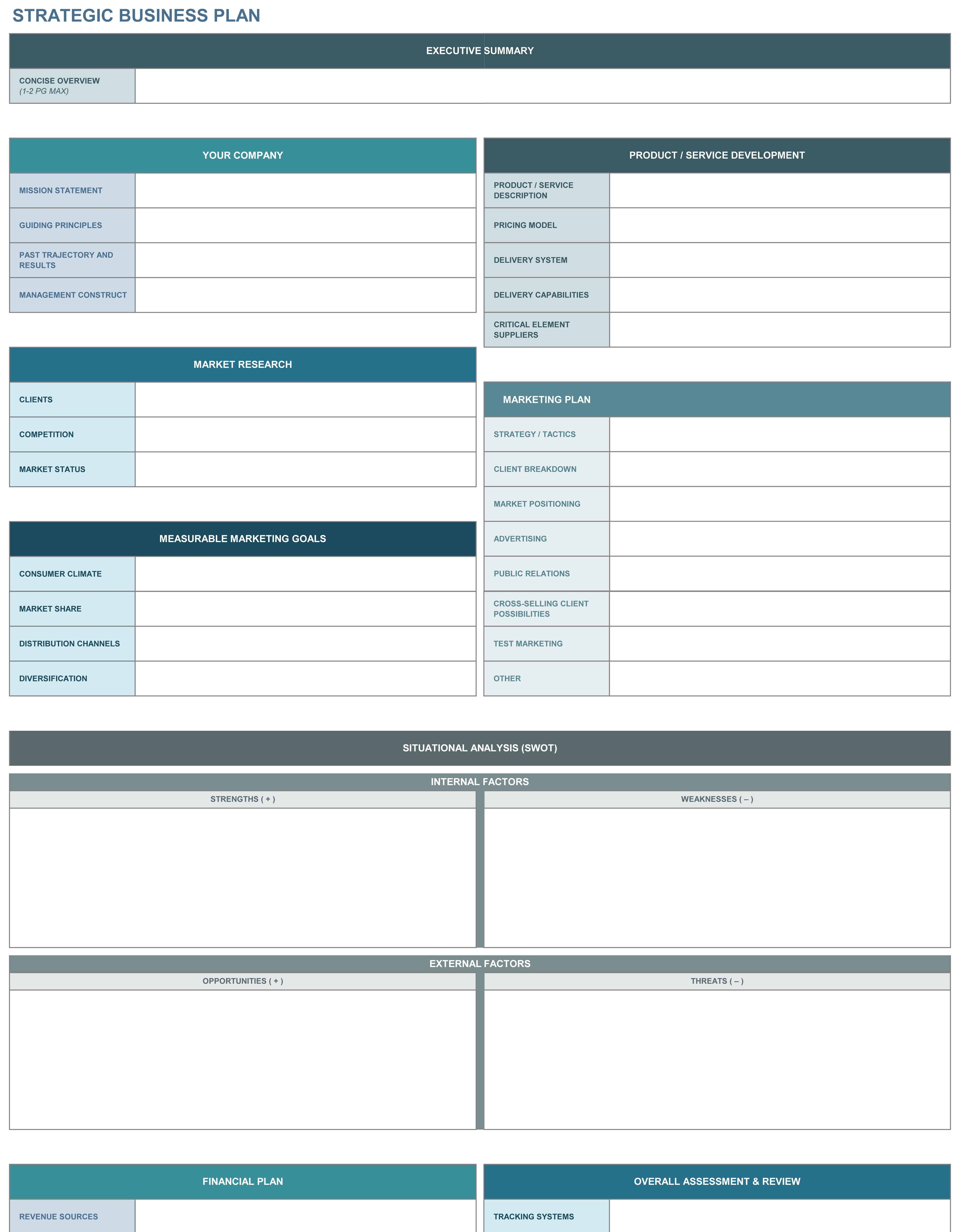 strategic business plan excel template