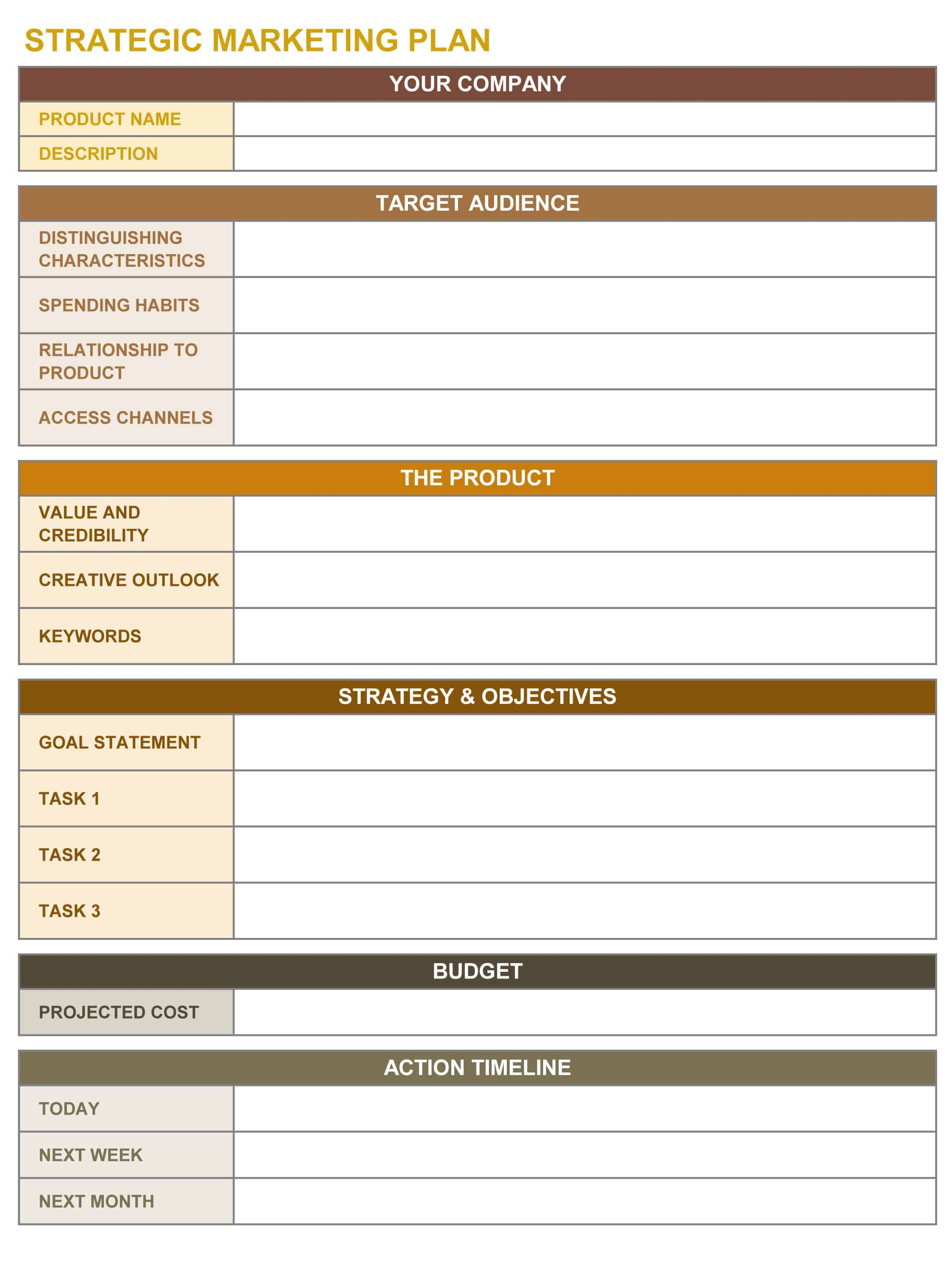 9 free strategic planning templates smartsheet for Promotional strategy template
