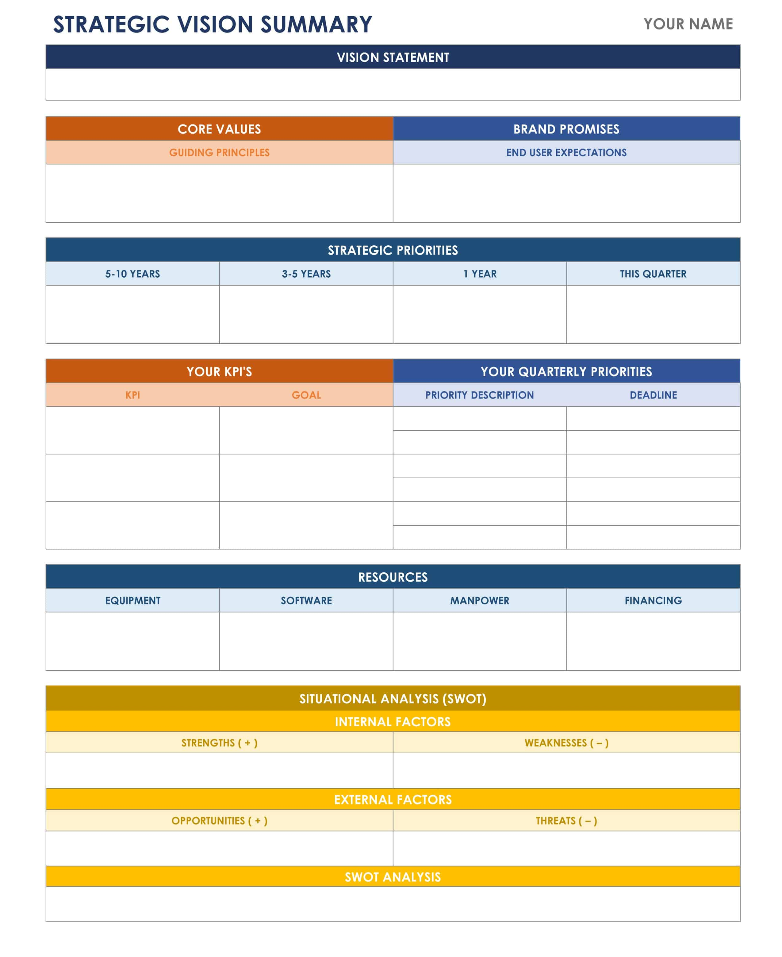 Strategic Vision Template  Microsoft Word Action Plan Template