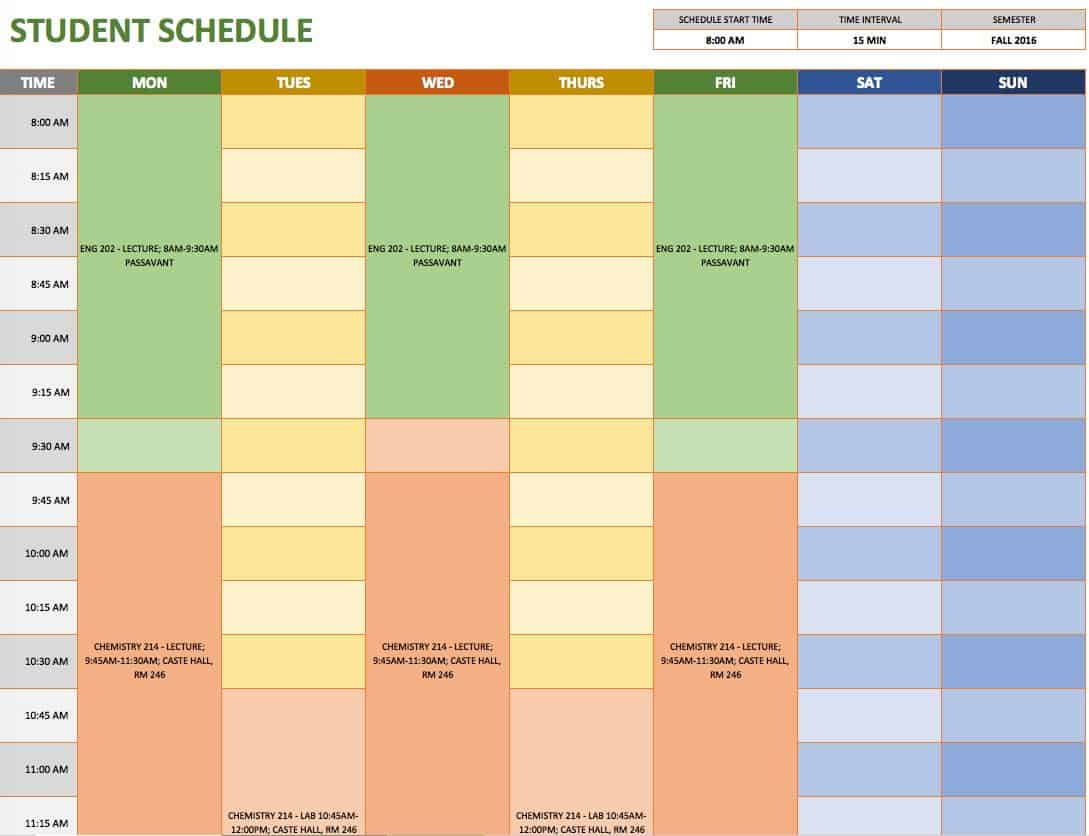 Free weekly schedule templates for excel smartsheet for Daily schedule template for students
