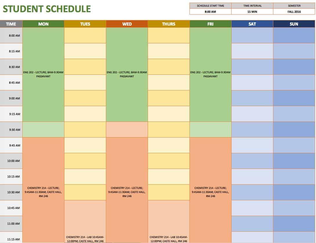 Doc585600 Classroom Agenda Template Class Schedule Template – Sample Student Agenda