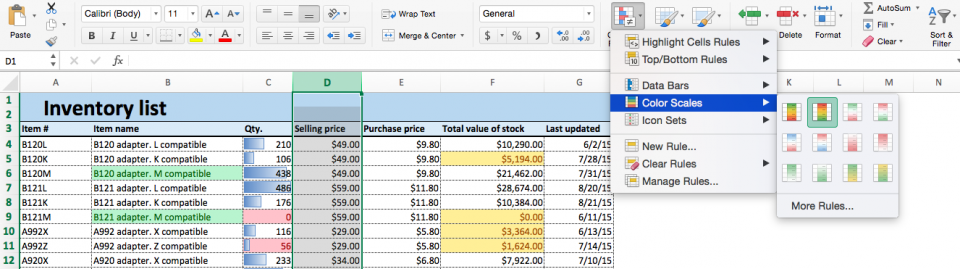 Conditional formatting color scales Excel