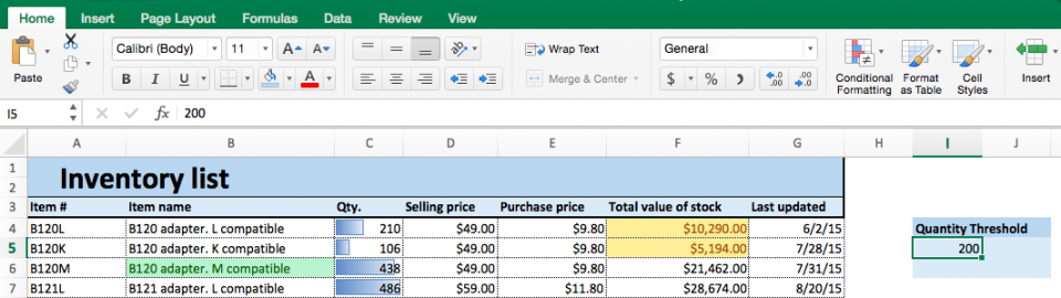 Conditional formatting quantity threshold Excel