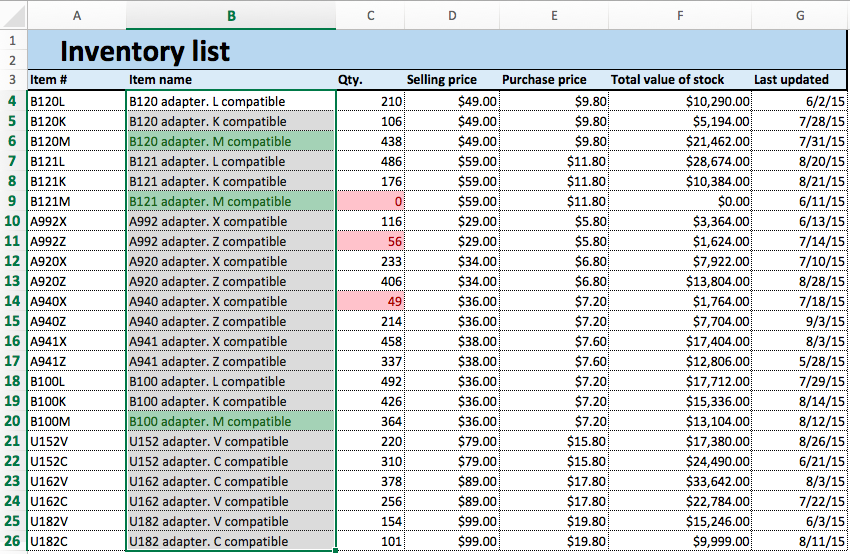 Conditional formatting changes updated Excel