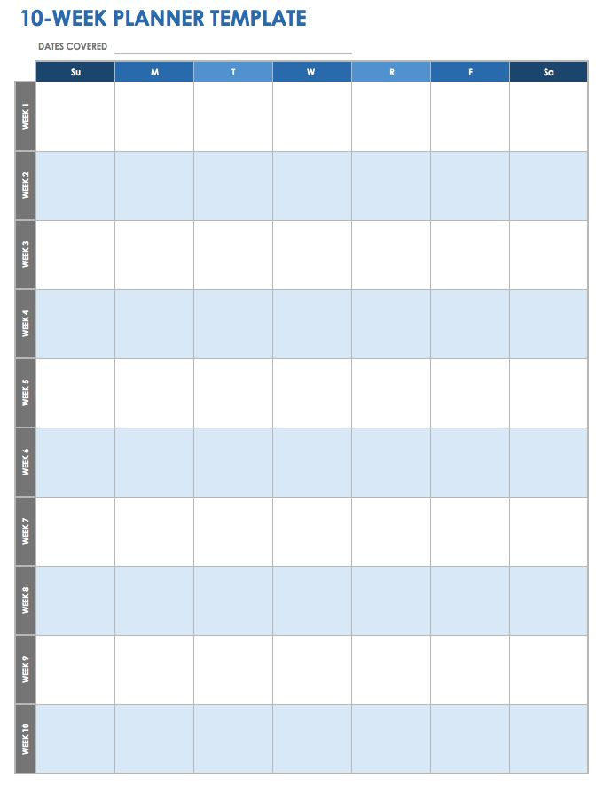 28 free time management worksheets smartsheet for Week by week planner template