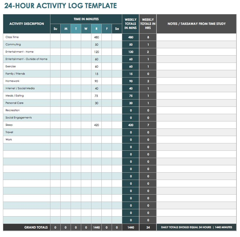 24 Hour Activity Log Template