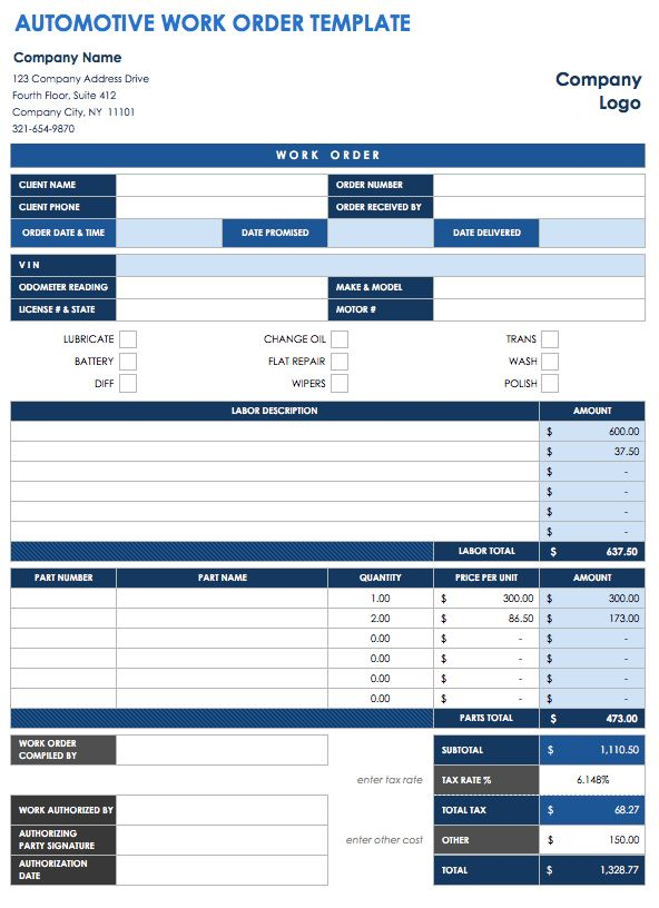 Automotive Work Order Template  Order Templates Free
