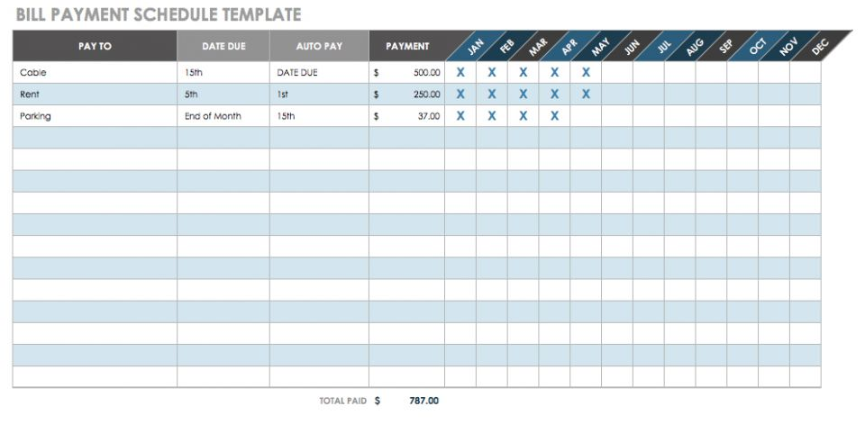 Bill Payment Schedule Template  Payment Due Template