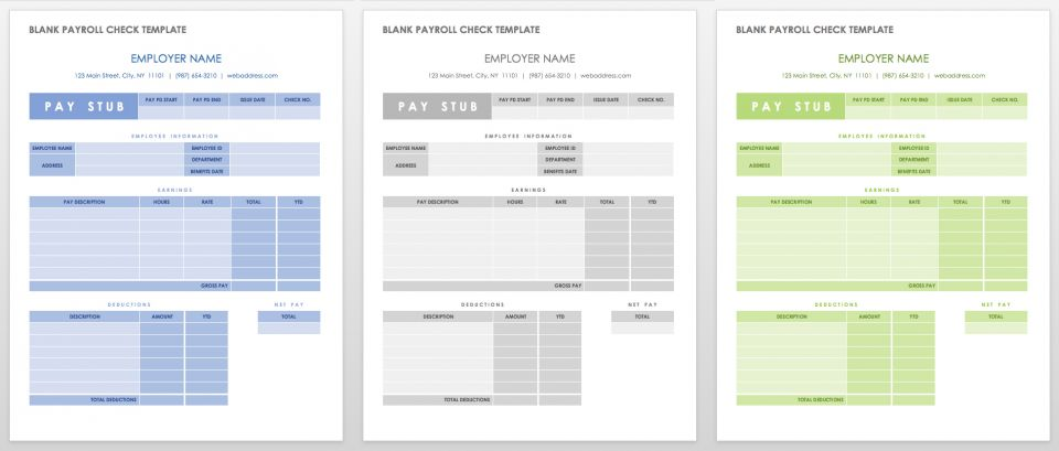Blank Payroll Check Template  Free Payroll Templates