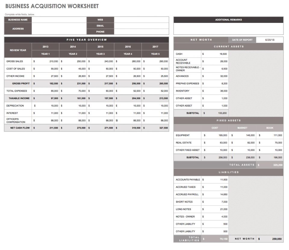 32 free excel spreadsheet templates smartsheet if youre planning to buy or sell a business use this template to assess a companys value you can also use it for your own information for communicating alramifo Images