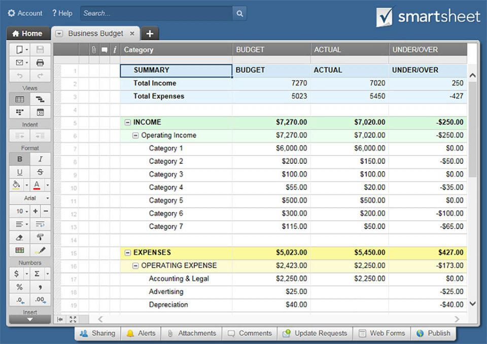 All the best business budget templates smartsheet categorize business expenses to track your spending against monthly and annual budget goals keep your income and expenses organized in one spot for an accmission Images