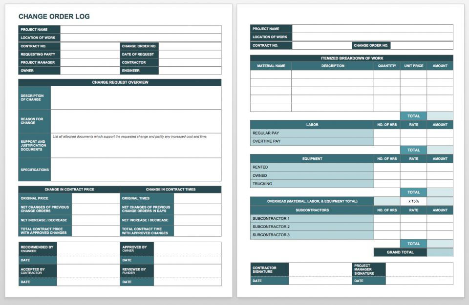 Complete collection of free change order forms smartsheet for Change log template project management