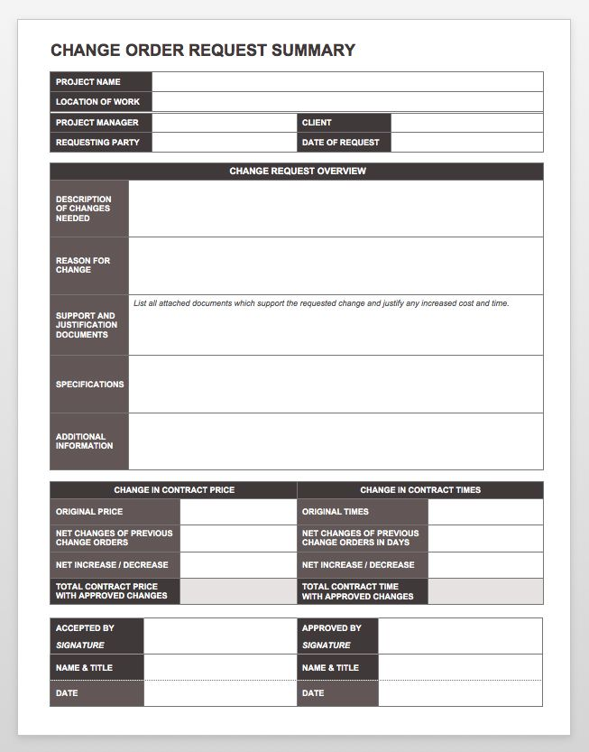 change order forms template