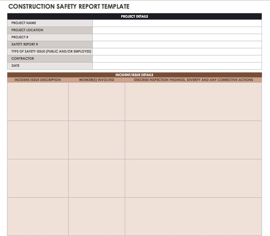Construction daily reports templates or softwaresmartsheet use this daily report template to record any safety incidents or accidents that occur enter a description of the incident or issue the workers involved fandeluxe Choice Image