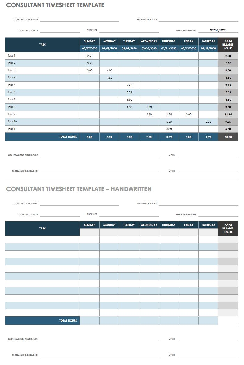 17 free timesheet and time card templates smartsheet consultant timesheet template alramifo Image collections