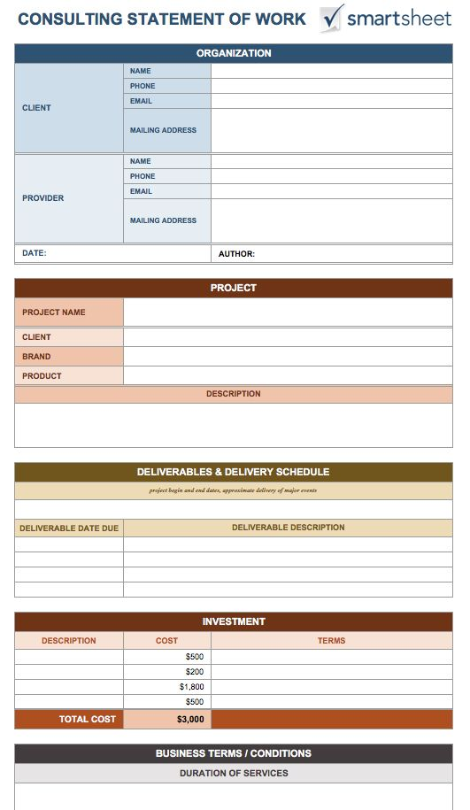 Consulting Statement Of Work Template  Proposal Of Work Template