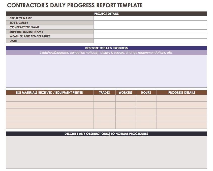 Contractor Daily Progress Report Template  Progress Reporting Template