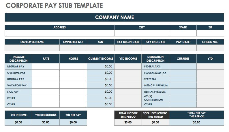 Corporate Pay Stub Template   Excel  Free Paystub Templates