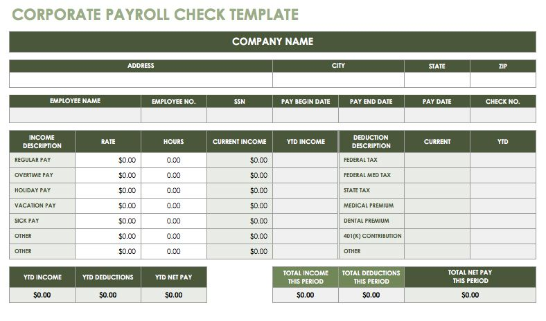 Corporate Payroll Check Template