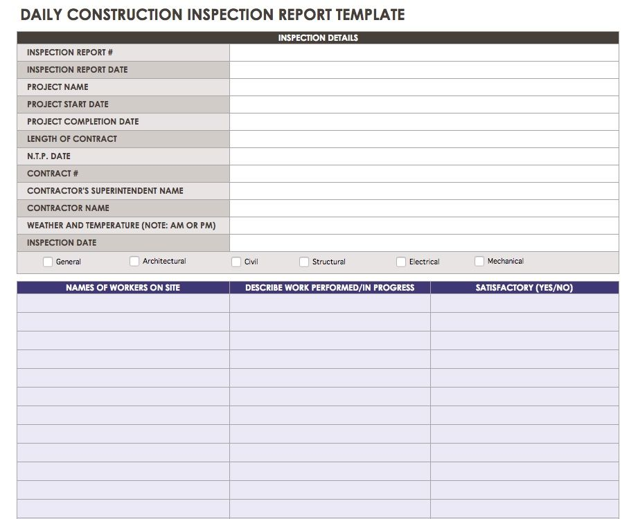 Daily Construction Inspection Report Template  Progress Reporting Template
