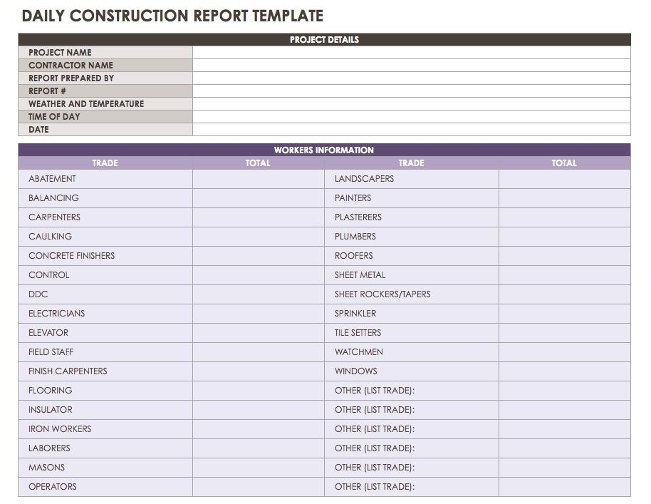 An All Purpose Daily Reporting Template That Allows You To Record The Workers On Site And