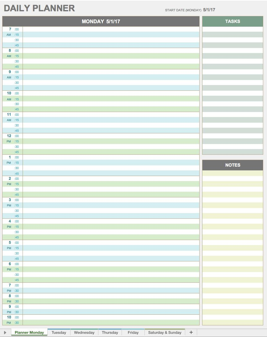 28 free time management worksheets smartsheet for Daily calendar template 30 minute increments