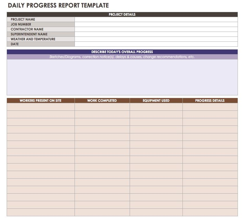 Daily Progress Report Template   Excel  Project Status Report Excel