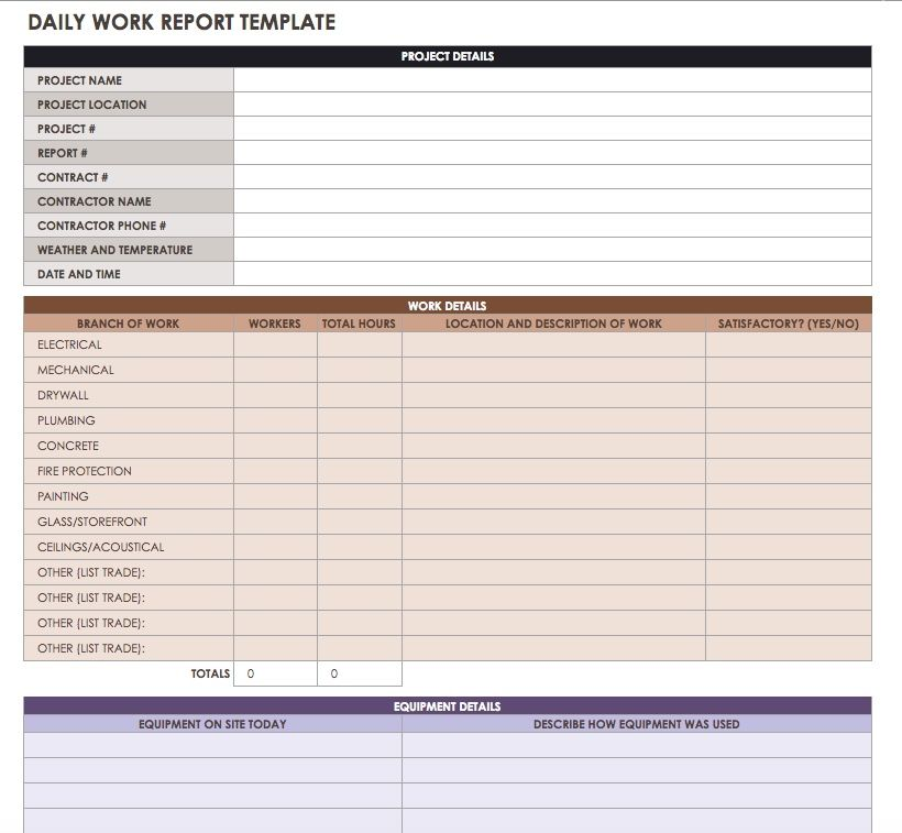 Construction daily reports templates or software smartsheet for Daily work record template