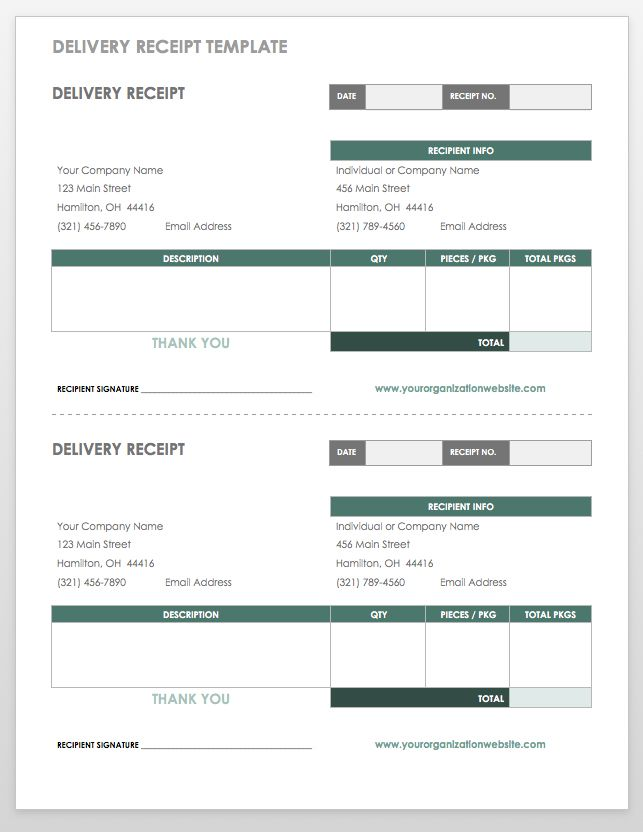 Delivery Receipt Template  Delivery Invoice Template