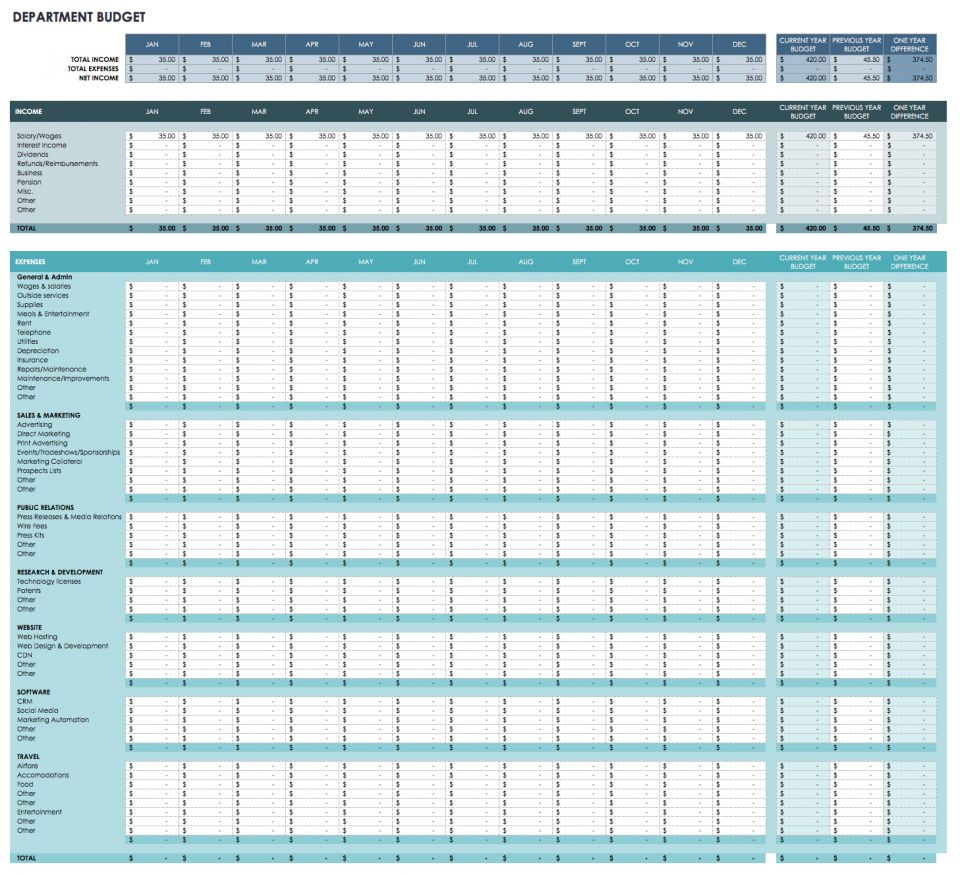 This Monthly Budget Sheet Can Help You Forecast Expenses For Your Business  Or Academic Department For The Entire Fiscal Year, As Well As By Month.