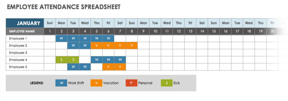 Free Attendance Spreadsheets and Templates – Employee Attendance Record Template