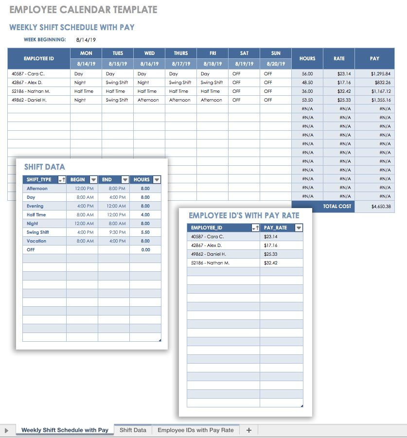 Great Employee Calendar Template Intended Payroll Schedule Template