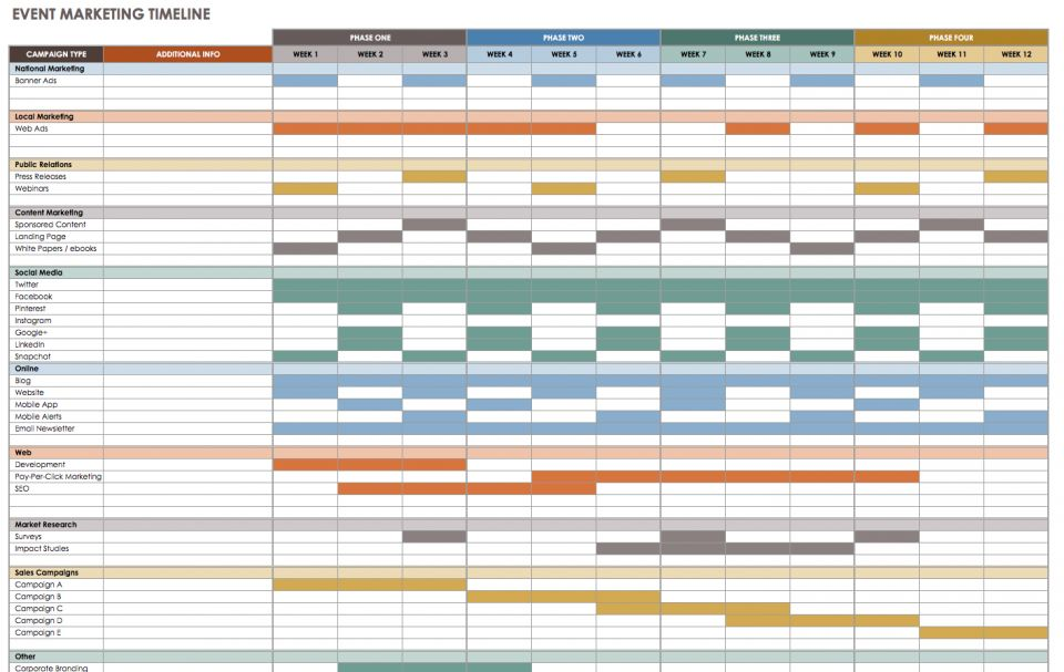 Good Create A Comprehensive Marketing Timeline For Any Event, And Track Campaign  Types And Plan A Schedule For Each Phase Through Completion.