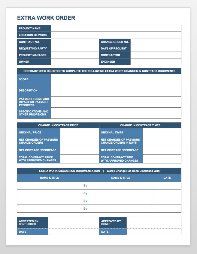 work order form templates