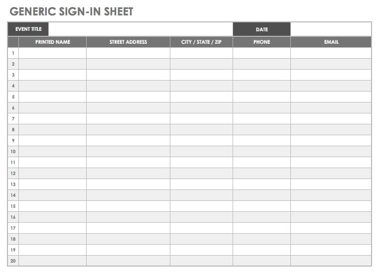 Generic Sign In Sheet Template   Excel