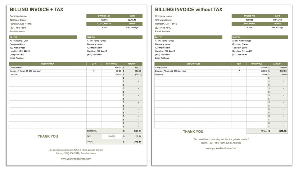 a billing invoice template is suitable for businesses providing goods or services this template includes an invoice number and customer id for tracking