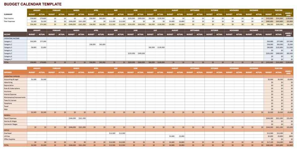 Budget Calendar Template   Google Sheets