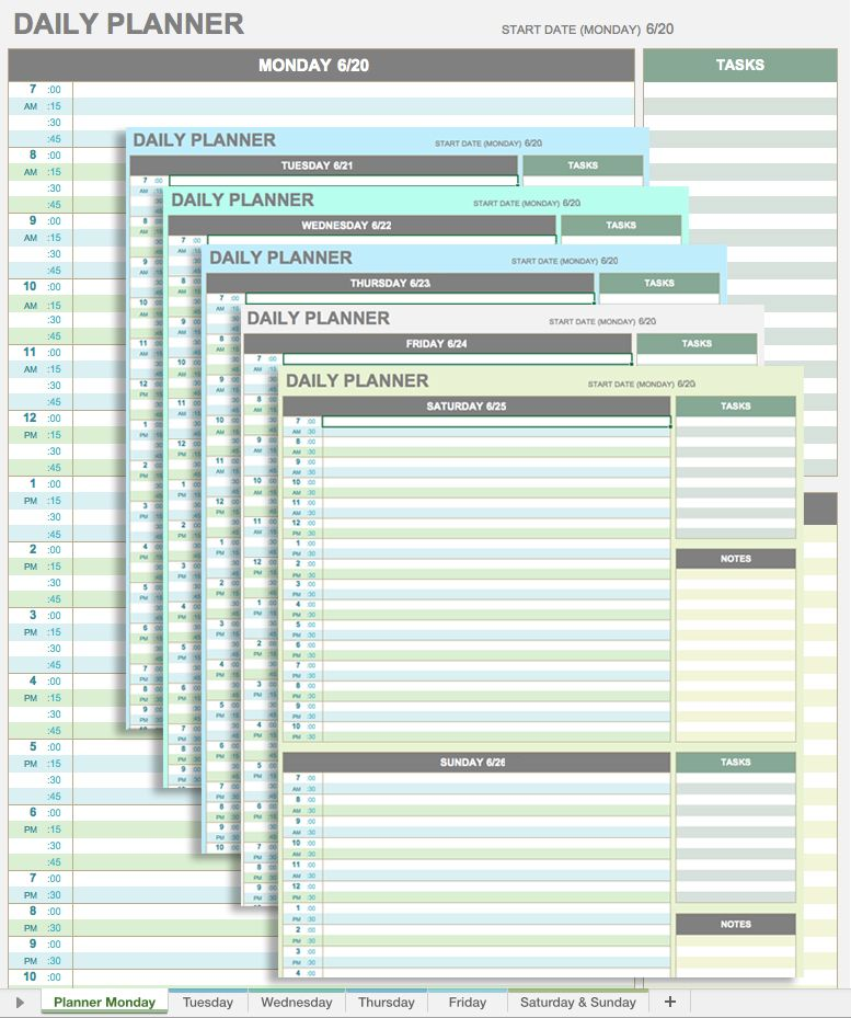 daily planner template google sheets