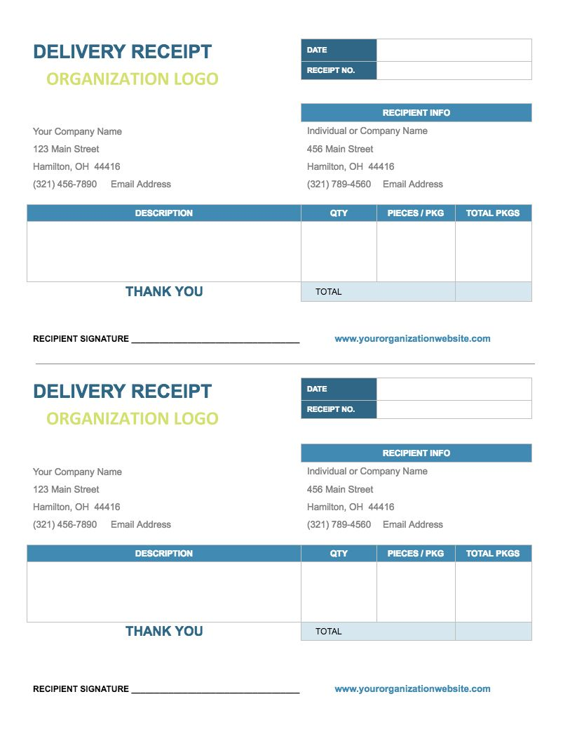 delivery receipt template google docs