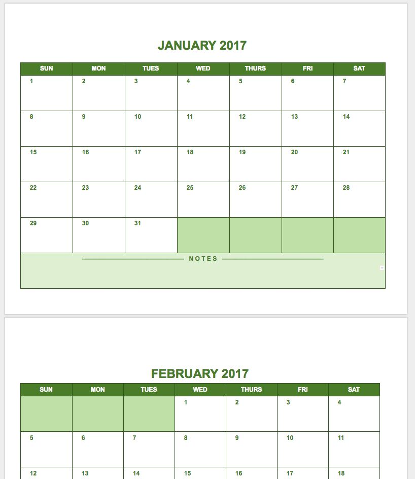 This Google Docs Calendar Template Offers A Basic View In Landscape Format For Each Month Of The Year Since Is