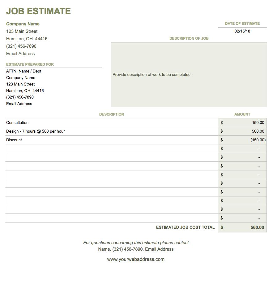 Free Google Docs Invoice Templates – Job Estimate Sheet