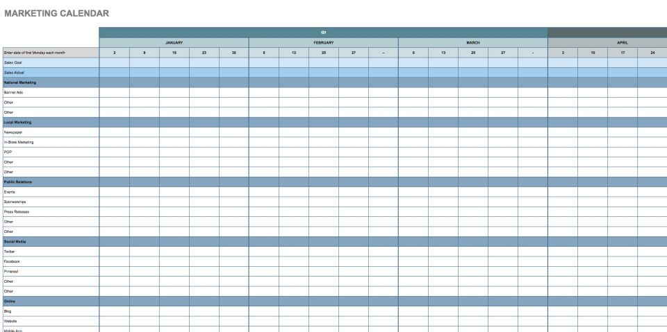 this annual marketing calendar template is broken down into days months and quarters so you can create a comprehensive schedule for your marketing plan