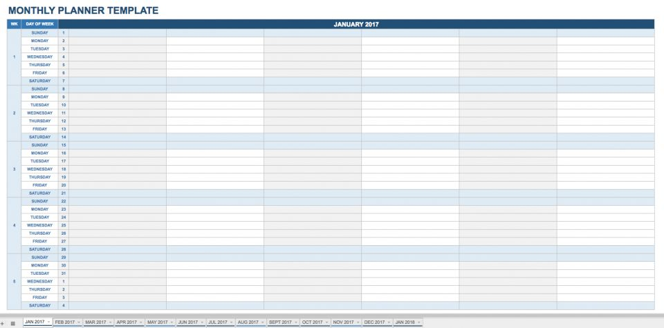 monthly planner template google sheets