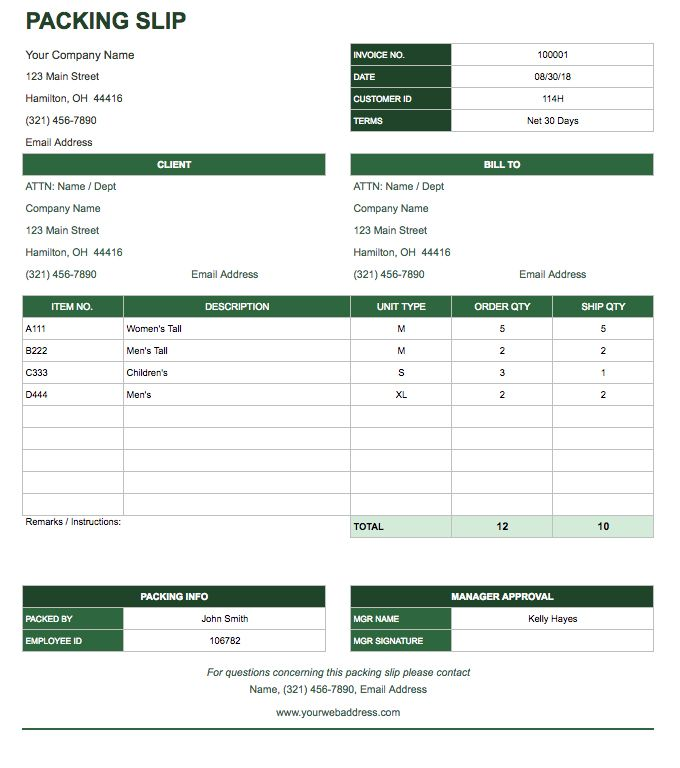Free google docs invoice templates smartsheet for Packing slip template google docs