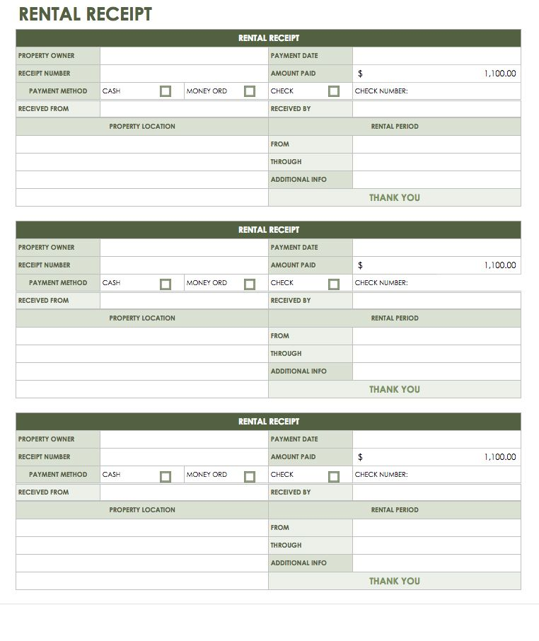 rental receipt template google sheets