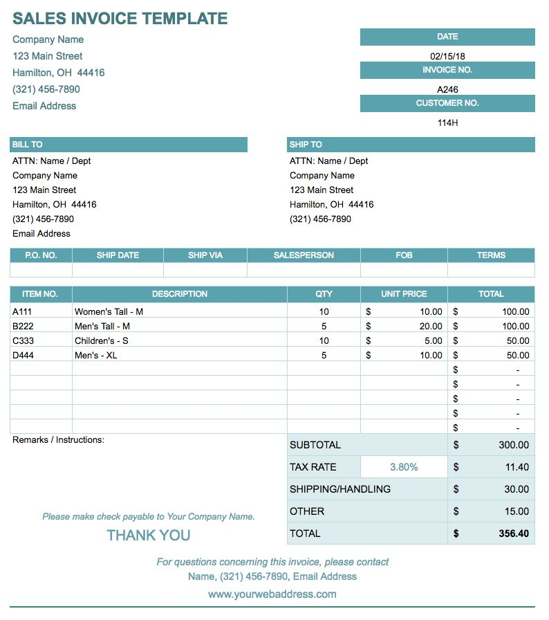 If Youu0027re Invoicing For Goods Sold Rather Than Services Provided, This  Template Includes Fields For A Salesperson Name, Shipping Information, Item  Numbers, ...  Billing Spreadsheet Template
