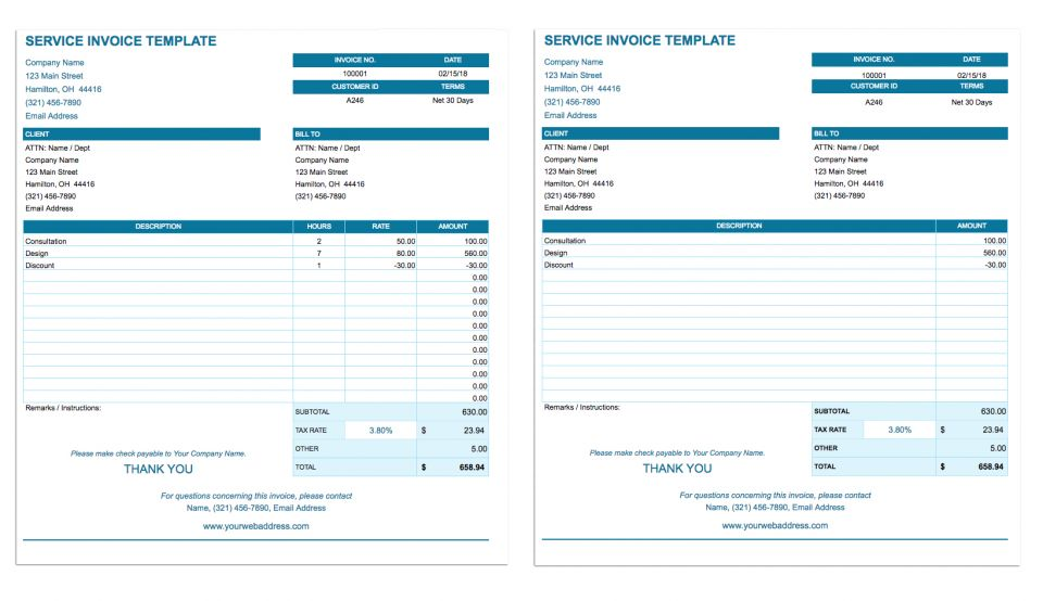 service invoice template google sheets